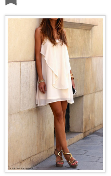 dress sheer shoes blouse nude high heels white dress dress shift dress layered white off-white tank dress layered dress shift formal crosschain ruffle goldstrap flowy short cream designer chiffon Giuseppe Zanotti shoes mesh cardigan ivory chiffon summer dress creme flowy dress clothes flowy dress short dress loose dress