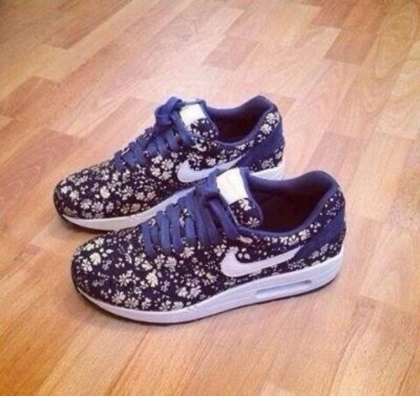 shoes nike nike air nike sneakers air max flowers