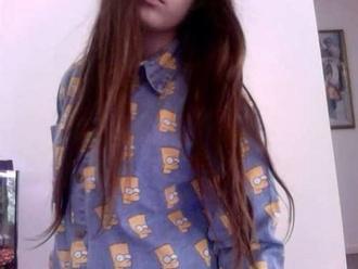 blouse blue bart simpson tumblr tumblr girl soft grunge grunge brunette collar cute cool shirt denim print button down button up the simpsons bart simpson shirt jeans