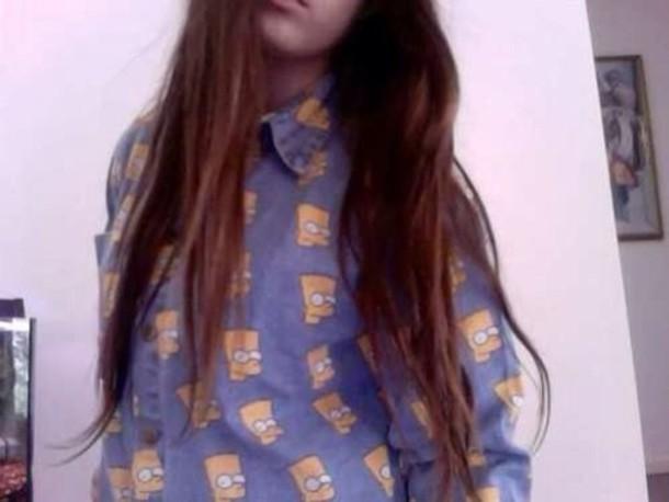 blouse blue bart simpson tumblr tumblr girl soft grunge grunge brunette collar cute cool shirt denim print button down