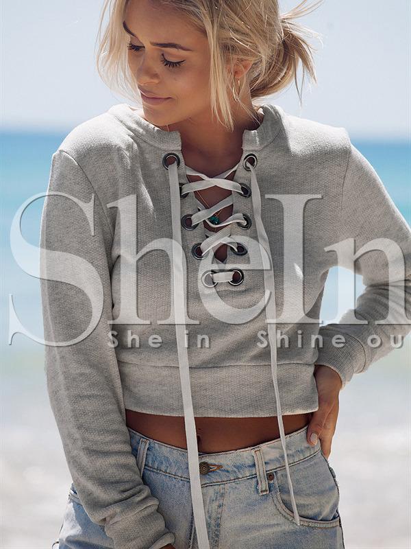 51769785e4 Grey Lace Up Neck Crop Sweatshirt -SheIn(Sheinside)