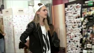 jacket cara delevingne black jacket hat t-shirt
