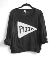 sweater,pizza,charcoal,hipster,shirt,black t-shirt,earphones,pizza shirt
