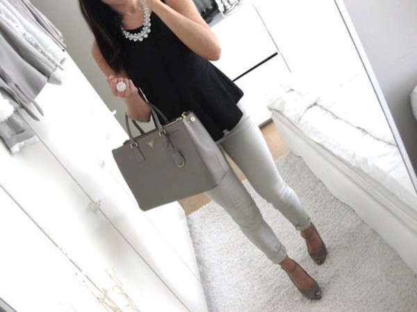 bag blouse jewels jeans