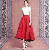 skirt,red maxi top white couture balenciaga,red skirt,vintage,maxi skirt