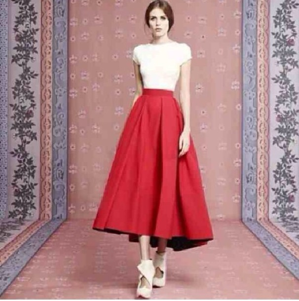 cc3d94c384 skirt, red maxi top white couture balenciaga, red skirt, vintage ...