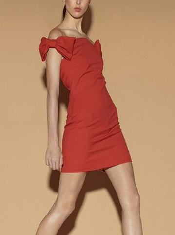 Red Bow Sheath Body-hugging Dress - Juicy Wardrobe