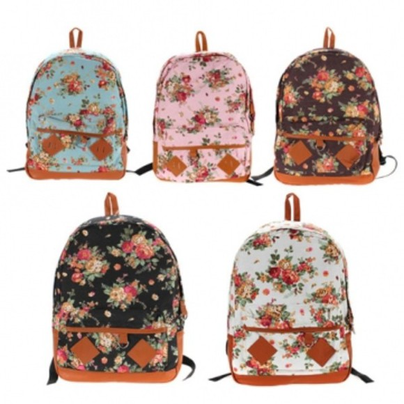 bag backpack banggood canvas bookbags flower schoolbag