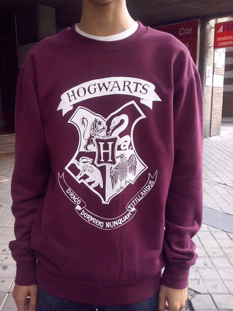 sweater pullover harry potter beautiful purple hogwarts mens sweater