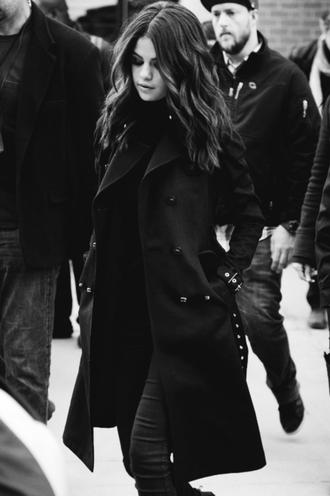 coat selena gomez coat black coat noir black and white