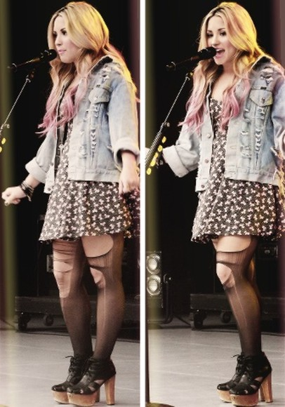 dress floral dress jacket demi lovato denim