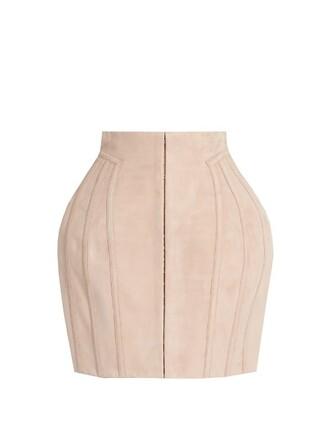 skirt mini skirt mini suede light pink light pink