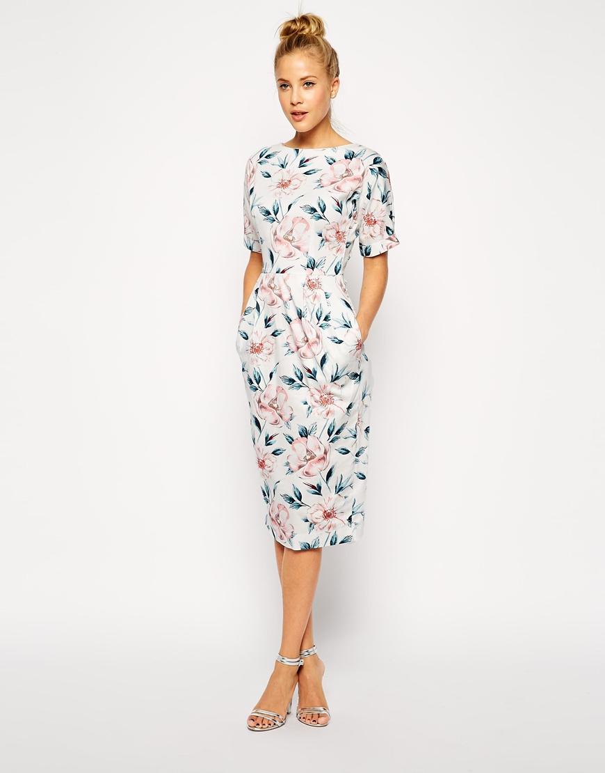 ASOS Wiggle Dress in Pastel Floral Print at asos.com