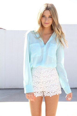 skirt одежда бренд lace shirt blouse sabo skirt shorts lace bustier lace blouse shirt blue shirt white shorts white dress pretty sexy style fashion cute romper