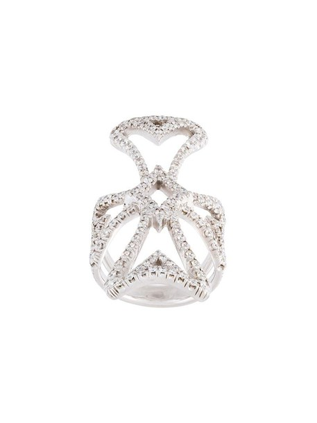 Loree Rodkin diamond ring cross metallic women ring jewels