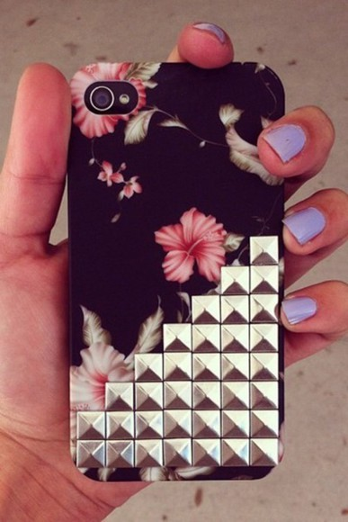 studs style phone case iphone case floral cases cover