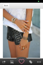 shorts,leather,embroidered,leather shorts,ring,bracelets
