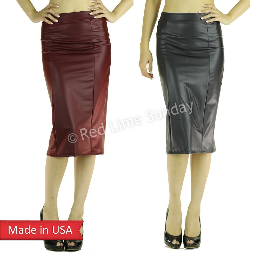 Faux Leather Black Burgundy Panel Leatherette Midi Length Pencil ...