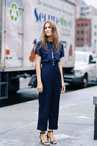 vanessa jackman blogger navy cropped pants classy office outfits high waisted pants