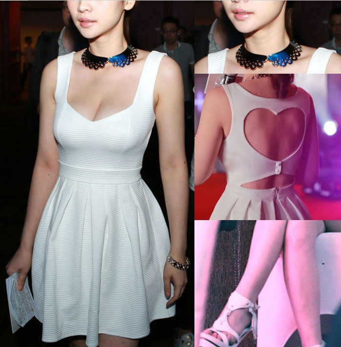 2013 new fashion short white/red cotton low cut  hollow out button back sexy clubwear mini heart dress free shipping-inDresses from Apparel & Accessories on Aliexpress.com