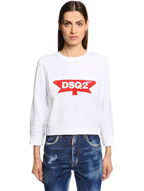 DSQUARED2 Logo Patch Cotton Jersey Sweatshirt in white