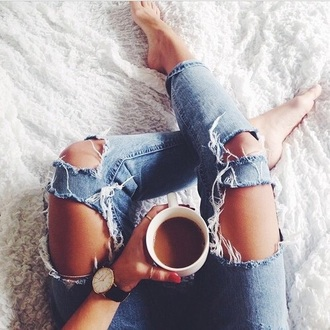 jeans denim blue coffee teenager girl cool pretty lovely chillin legs body perfect watch bracelets