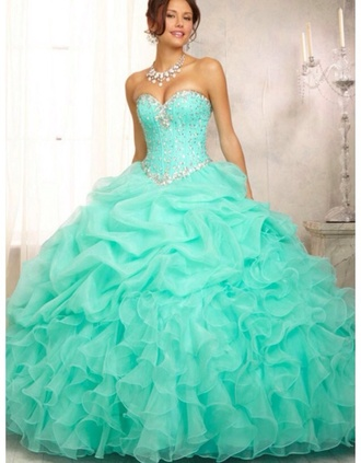 dress quinceanera dress turquoise beads tiffany blue turqoiuse