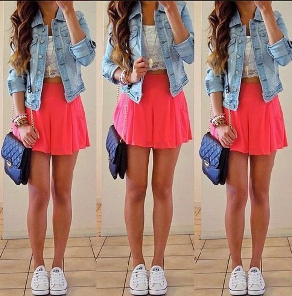 skirt clothes skater skirt pink
