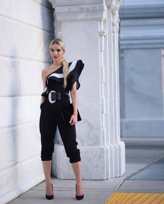 swimwear tumblr one shoulder ruffle pants black pants pumps pointed toe pumps black heels belt bag