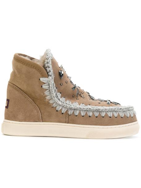 women embellished brown shoes