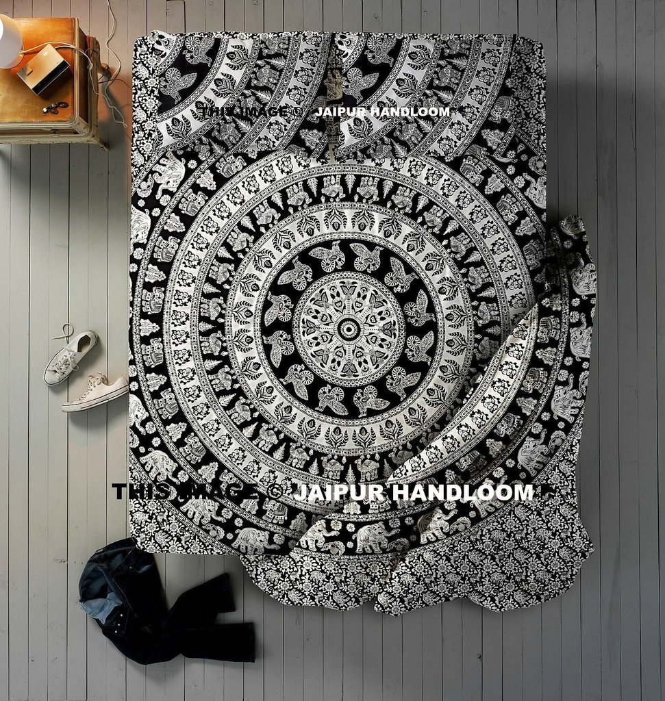 4 PCs Black & White Mandala Indian Queen Donna Duvet Quilt Cover Set Bedding