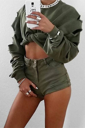 top,khaki,green,ripped,torn,streetwear,tumblr,instagram models,crop,tie,cropped,sweater,fall outfits