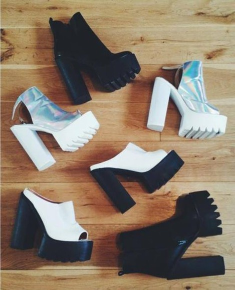 shoes high heels platform shoes black white boots black boots platform high heels silver high heels silver glitter boots