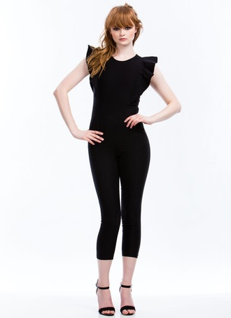 jumpsuit black ruffle