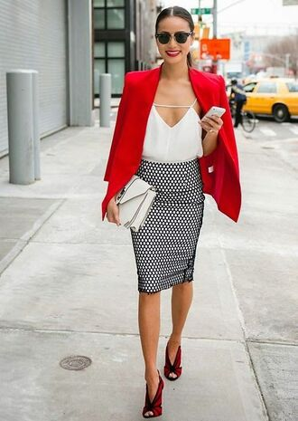 skirt office outfits jacket blazer top sexy work outfits business casual business professional date outfit v neck white tank top pencil skirt red blazer jamie chung
