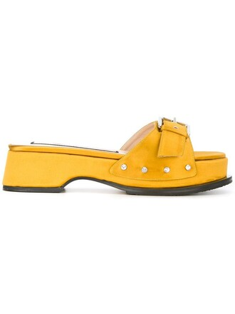 women sandals leather yellow satin orange shoes