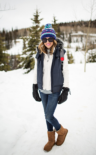 hello fashion blogger pom pom beanie winter outfits down jacket ugg boots