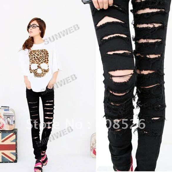 Cotton Denim Ripped Punk Cut out Women Skinny pants Jeans Jeggings ...