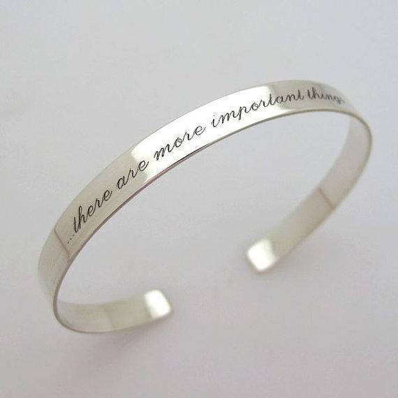 Custom Quote Cuff Bracelet Personalized Silver