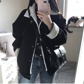 jacket,black,jeans,warm,korean style