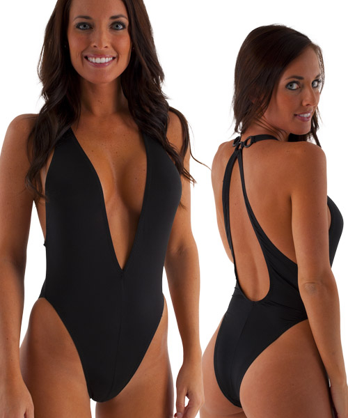 Womens-Sexy-Plunging-Neckline-One-Piece-Tanga--in-ThinSKINZ-Black--by-Skinz