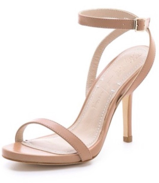 Shoes: nude, ankle strap sandal, low heels, mid heel sandals ...