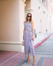 dress,tumblr,ruffle,ruffle dress,maxi dress,long dress,violet,lilac dress,lilac,sandals,sandal heels