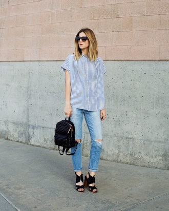 blogger shoes sunglasses ripped jeans skinny jeans black backpack black bag striped top black heels back to school striped shirt blue jeans block heels stacked wood heels stripe shirt mini backpack