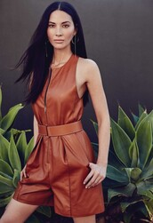 romper,leather,leather shorts,olivia munn,editorial,brown,waist belt,earrings,spring outfits