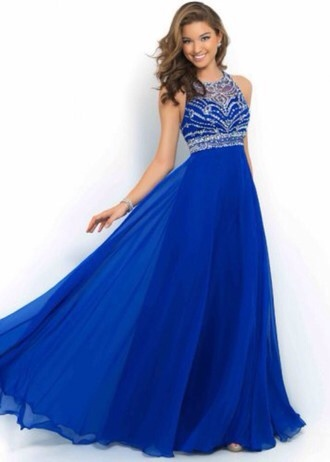 dress long prom dress elegant beautiful blue dress