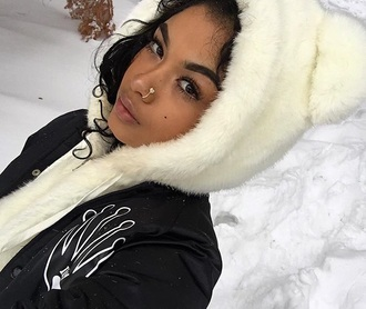 jacket hoodie fur white jewels