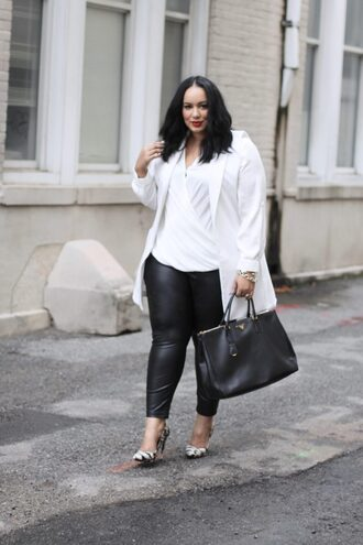 leggings plus size leggings curvy plus size black leggings leather leggings pumps pointed toe pumps high heel pumps shirt white shirt coat white coat plus size coat bag black bag black and white