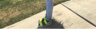 shoes green sandal flats neon yellow flat sandals sandals