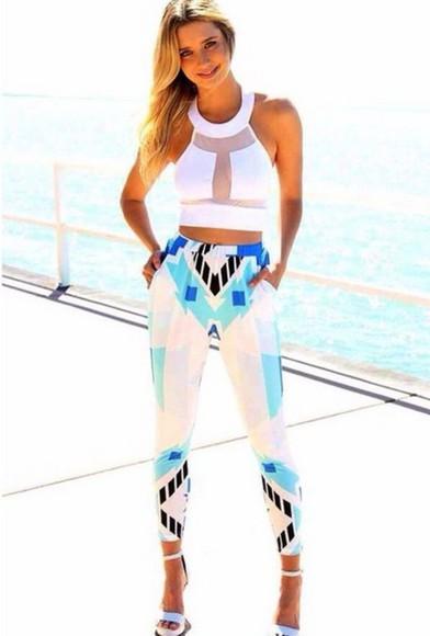 aztec pants,trousers,tight,bottoms colorblock pants